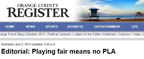 OC Register Editorial: Playing Fair Means No PLA