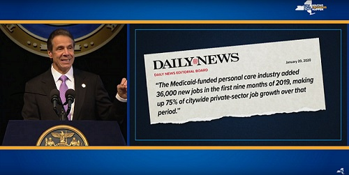 "A picture of Governor Cuomo next to a Daily News Editorial clip reading, ""The Medicaid-funded personal care industry added 36,000 new jobs in the first nine months of 2019, making up 75% of citywide private-sector job growth over that period."""